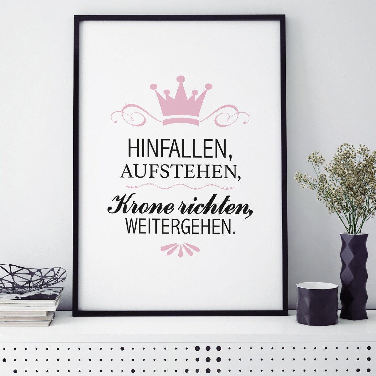 JUNIWORDS Poster mit Rahmen  Hinfallen, Aufstehen, Krone richten...  DIN A4 A3
