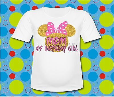 Mommy of the birthday girl Minnie Mouse T Shirt Pink bow Minnie ears shirt