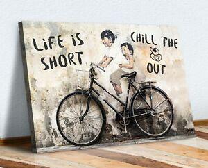 LIFE IS SHORT CANVAS WALL GRAFFITI ART PRINT ARTWORK FRAMED POSTER NOT BANKSY
