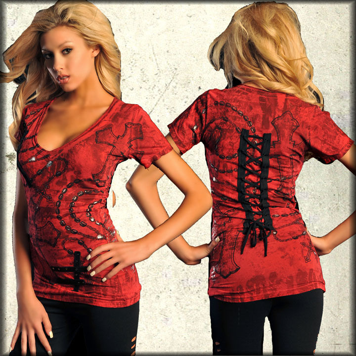 Affliction RosaRY OF LIFE damen V-Neck Top S M NWT NEW T-Shirt Bamboo rot