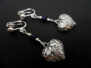 NEW. A PAIR OF PRETTY TIBETAN SILVER//PURPLE BEAD  DANGLY HEART EARRINGS
