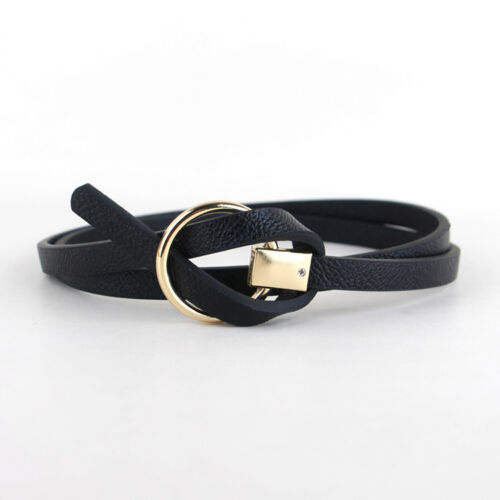 Lady Women Stylish Gold Round Buckle Leather Skinny Belt Dress Jeans Waist Band