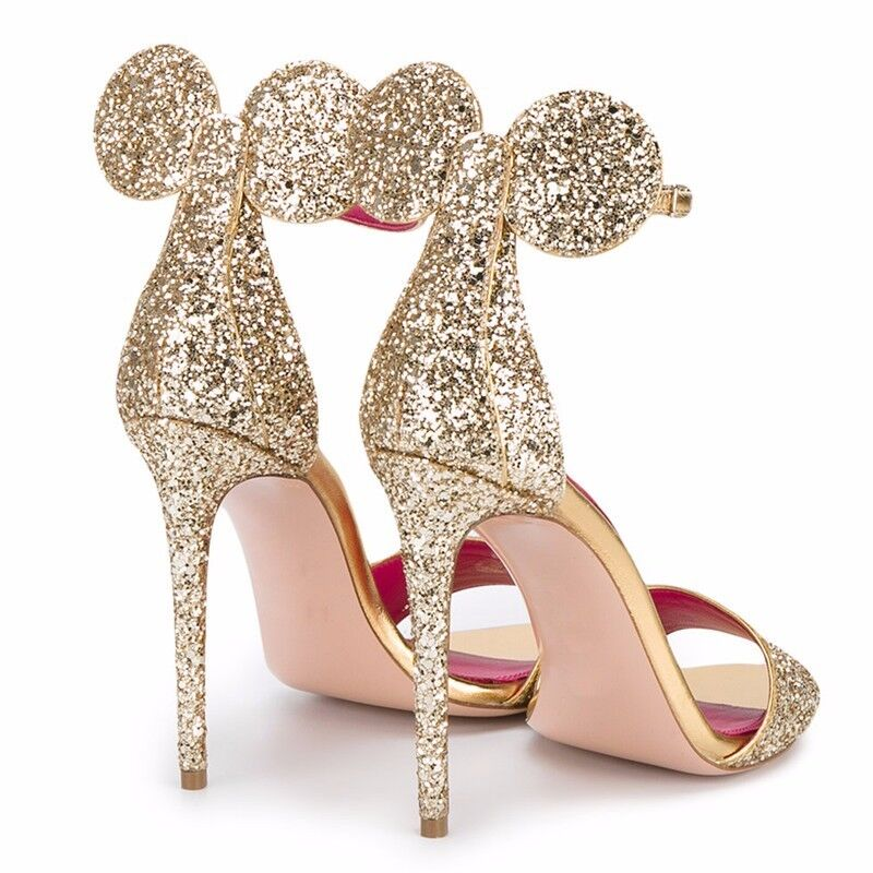 NEW Womens Minnie Mouse Glitter High Heels Bow Heel Sandals Shoes, 6 Hot Colors