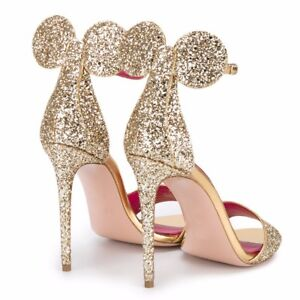 963a15005565 NEW Womens Minnie Mouse Glitter High Heels Bow Heel Sandals Shoes