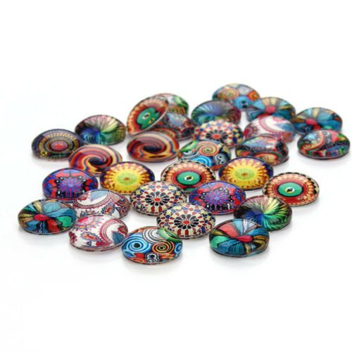 Ethnic Supplies Jewelry Making Round Glass Dome Ethnic Pattern Cabochon