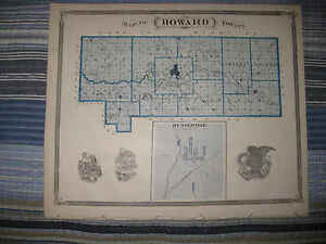 Howard County Indiana Map.Details About Antique 1876 Howard County Indiana Map Kokomo Marion Jonesboro Russianville Nr