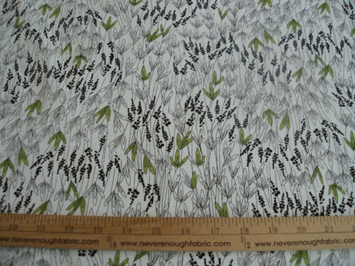 """#52 Cotton Blend Fabric Grass Weeds black green on white 58//60/"""" wide BTY"""