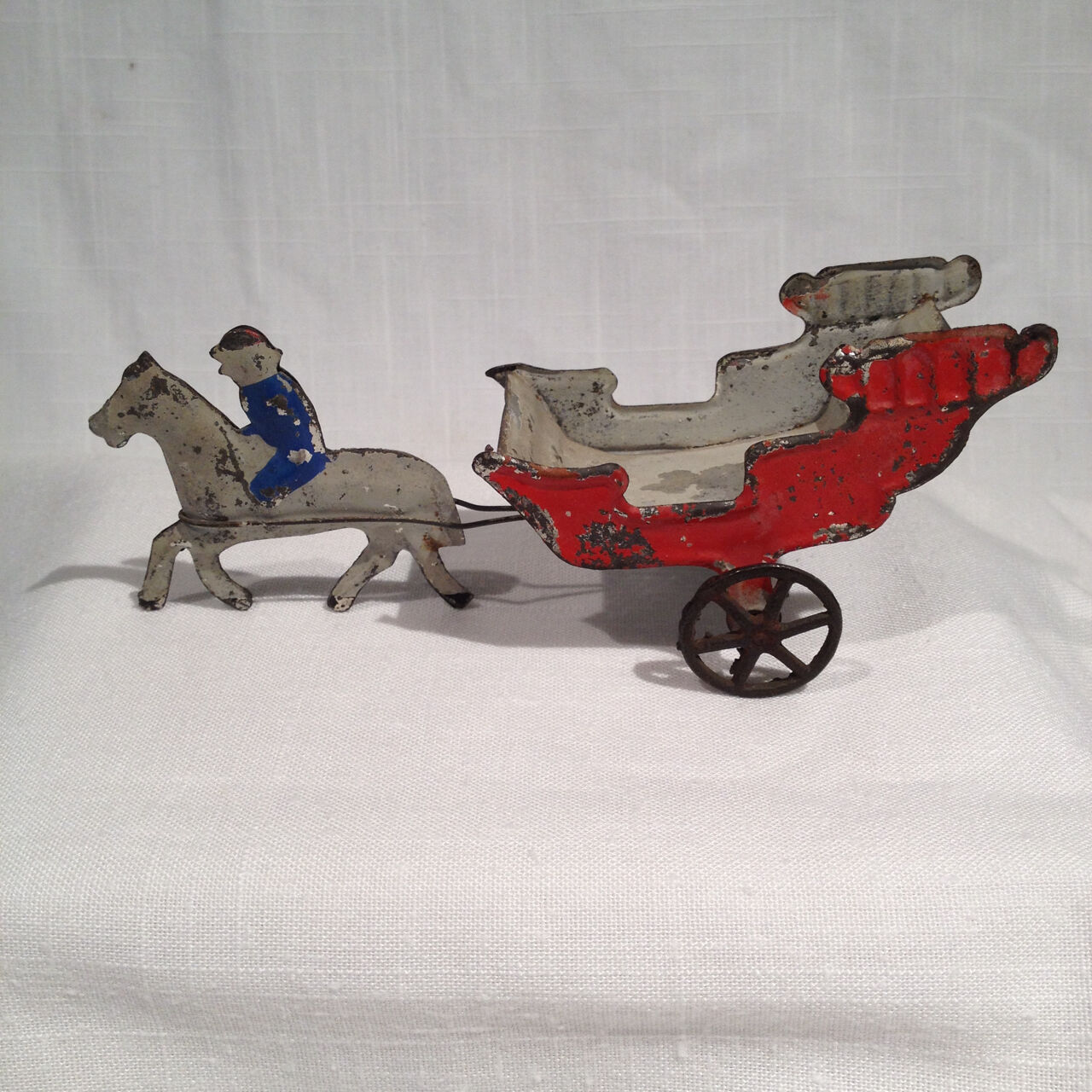 EARLY AMERICAN PAINTED TIN TOY CIRCUS WAGON, HORSE & RIDER, FALLOWS, 6.25 INCHES