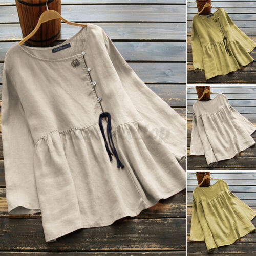 Womens Linen Cotton Embroidered Solid Blouse Tops Buttons Down Shirt Tee T-Shirt