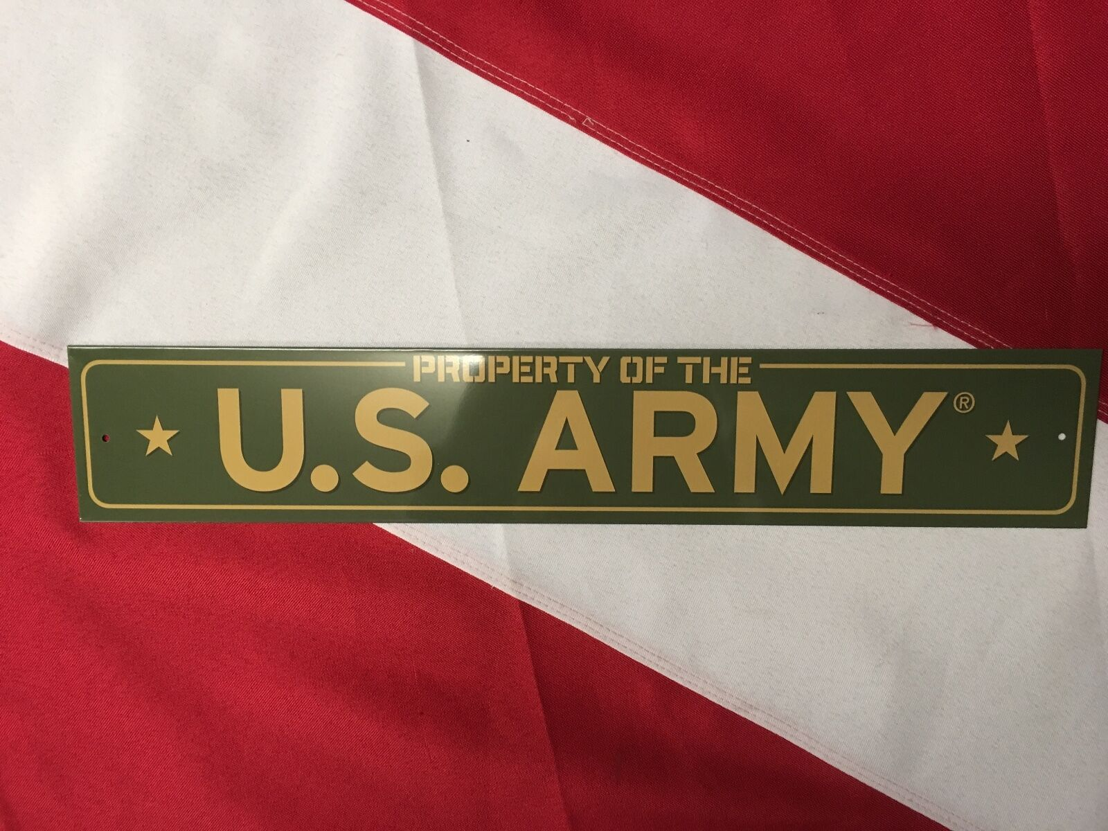 "METAL SIGN Property Of US ARMY Tinn novelty gift 17x3/"" green brand new"
