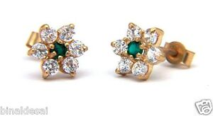 Womens-9ct-Gold-Round-Emerald-Cluster-Studs-Earrings-Anniversary-B-039-Day-GIFT-BOX