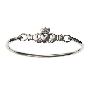 Irish-Claddagh-Hinged-Bangle-Sterling-Silver-925-Ladies-7-5-034-x-15mm-amp-Gift-Box