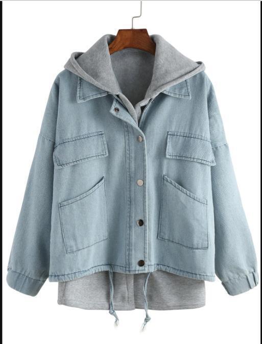 Jacket & Vest 2 pc. Set Light Blue Drawstring Denim Jac