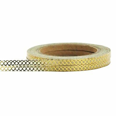 Little B: Narrow Gold & White Honeycomb Washi Tape 2 Rolls; 3mm Wide, 20 m Total