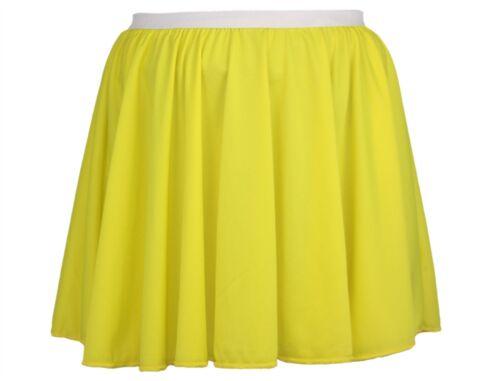 "Ladies 15/"" Bright Yellow Skater Skirt Roller Disco Fancy Dress"