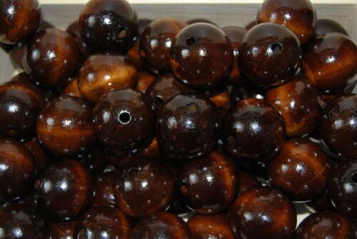 Set 20 granos de madera natural de diámetro 30 mm en color marrón