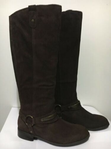 CLARKS LADIES EBONY BROWN SUEDE PULL ON LONG BOOTS UK SIZE 5 D