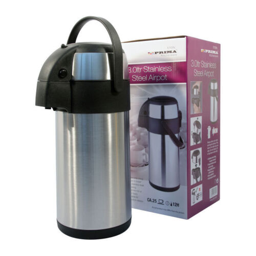 STAINLESS STEEL PUMP ACTION 3 LITRE AIRPOT HOT /& COLD FLASK 3LTR FLASK 131C