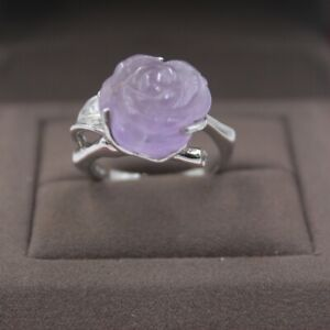 New-925-Sterling-Silver-with-Natural-Purple-Crystal-Rose-Lady-Ring-Size-5-10