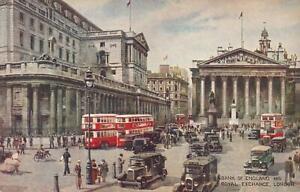VINTAGE-BANK-of-ENGLAND-and-ROYAL-EXCHANGE-LONDON-POSTCARD-UNUSED