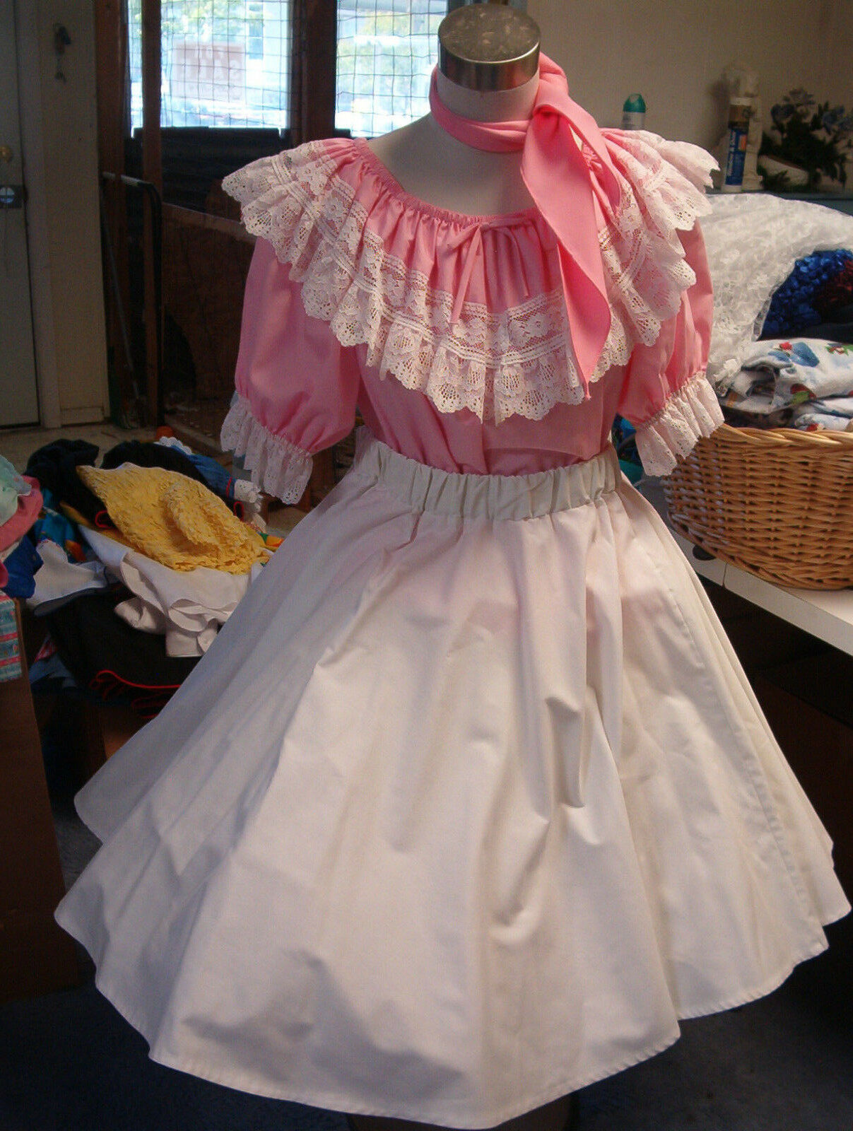 SQUARE DANCE PINK  BLOUSE-SOLID WHITE SKIRT & TIE  SZ.  MED LARGE