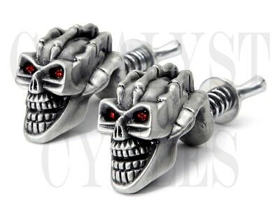 Skull License Plate Bolts for Harley or Other Motorcycle Tag Bolts Pewter Skulls