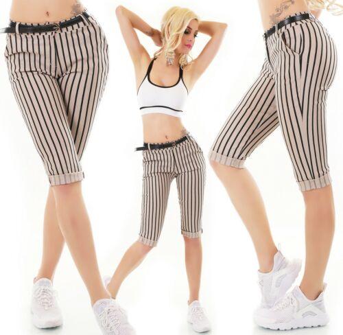 ITALY Capri Bermuda Shorts Pantaloni Corti Stretch Cintura A Strisce S M L XL XXL