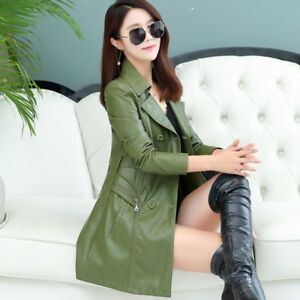 Double Faux Jackets 2019 Mid Leather Fit Kvinders Slim Long Formal Breasted Frakke qwxfU4