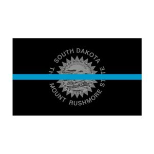 South Dakota SD State Flag Thin Blue Line Police Sticker / Decal #279 USA Made