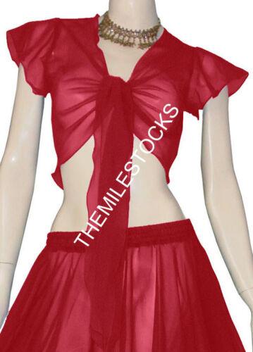 Maroon 25 Color TMS Ruffle Wrap Top Tie Belly Dance Choli Short Gypsy Club