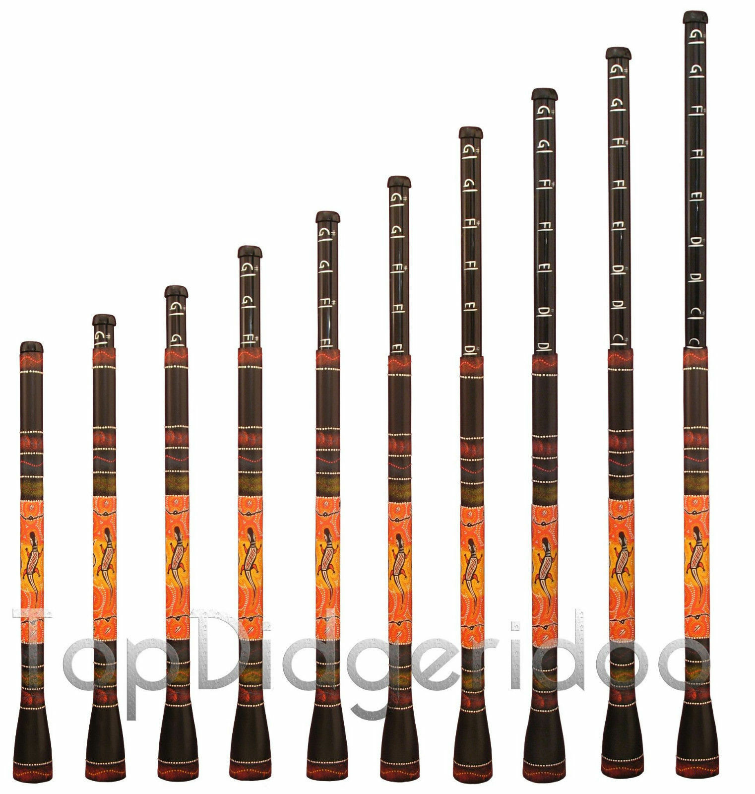Dia Didgeridoo-Trombone Didgeridbone Einstellbarer Tasten Ton Dot-Painted Echse