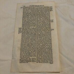 LARGE 1700's German Folio Manuscript Book Leaf - Decor Document Old Antique A
