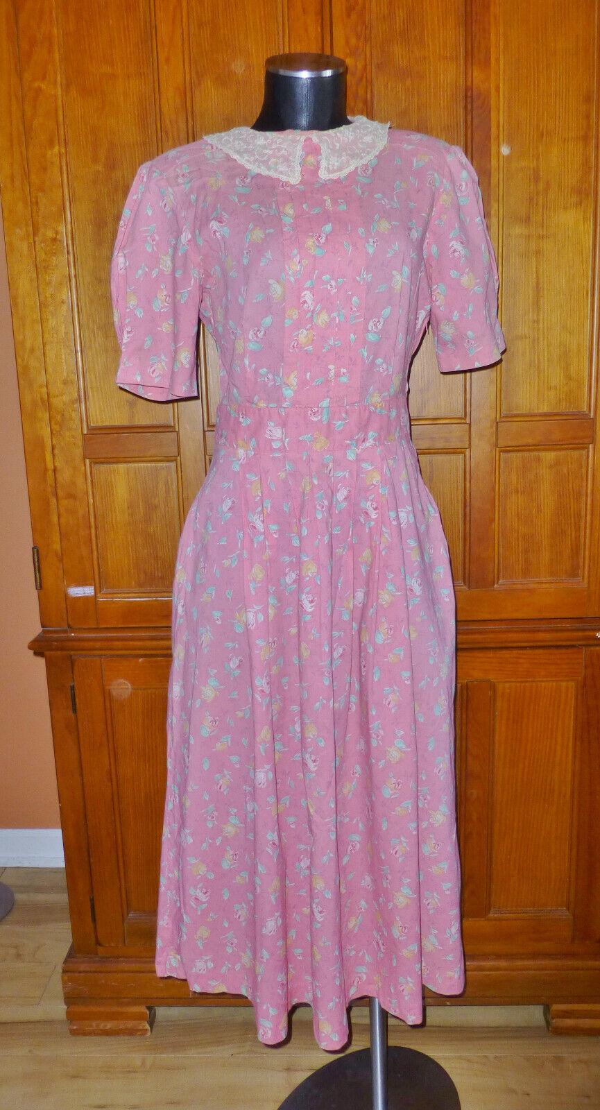 LAURA ASHLEY Vtg English Floral Cotton Lace Collar Garden Party midi DRESS