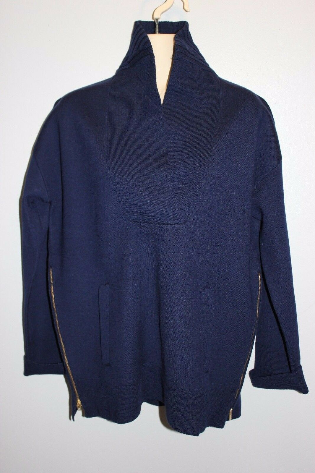 NEW J Crew  228 COLLECTION BONDED BONDED BONDED SHAWL POPOVER SWEATER Sz Small f5369  Indigo 26a42b