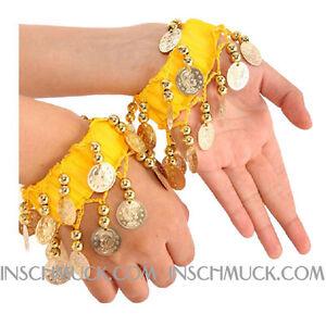 C129-Une-Paire-Danse-orientale-Bracelet-avec-Dore-Pieces-de-monnaie-Bijoux