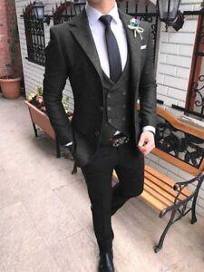 Details about Men\u0027s Dark Gray Jacket Vest Black Pants Vintage Tweed Wedding  Suit Custom