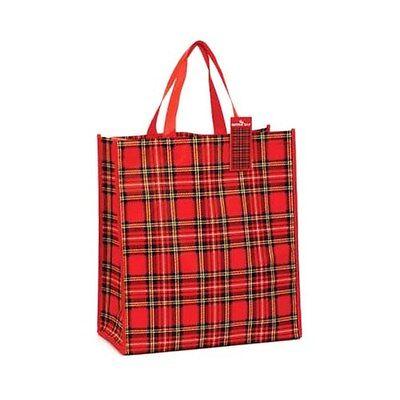 Funky Red Scottish Royal Stewart Tartan Reuseable Shopper Tote Bag - Shopping