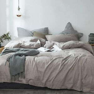 Queen-Washed-Linen-Cotton-Blend-Duvet-Cover-Natural-Comfortable-Breathable-3-set