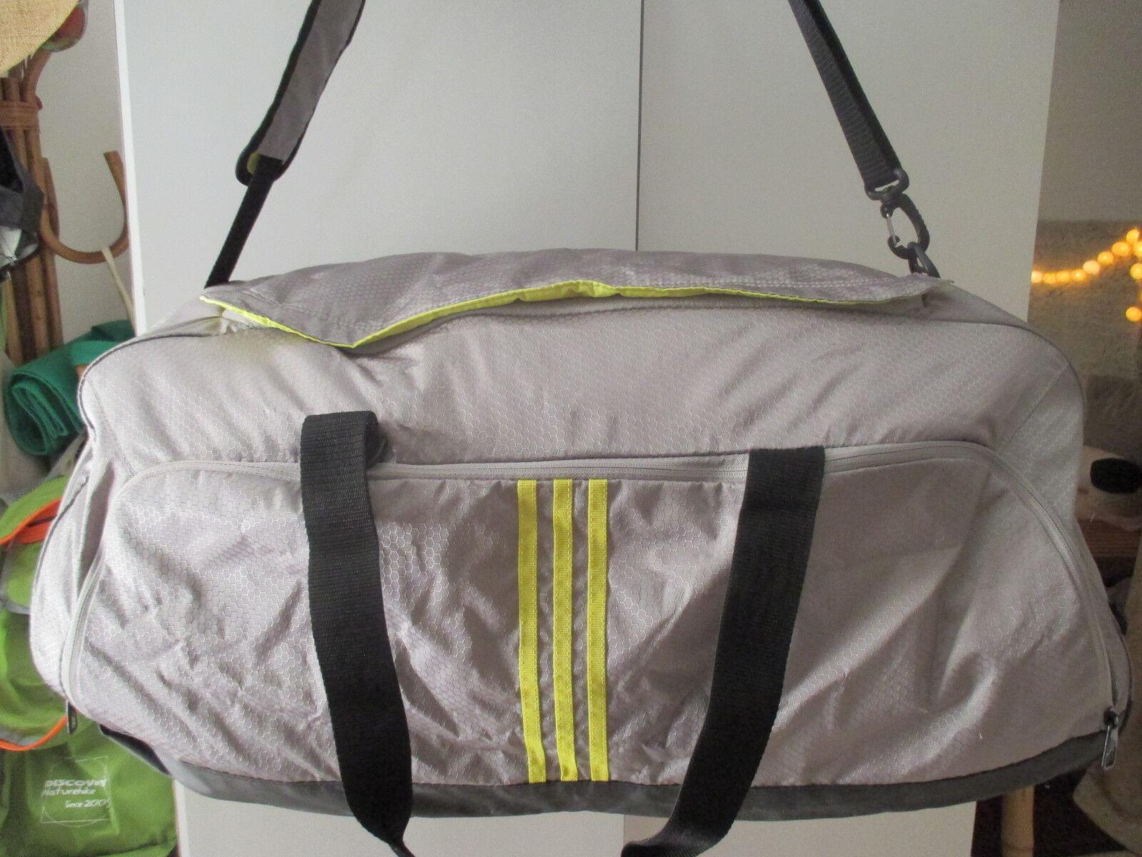 Adidas Gym Performance Team bag L large grey yellow duffle 65x31x25 cm 3 stripe