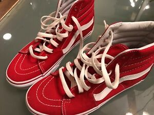 3446c1900d8 Vans Canvas SK8-HI RED and white unisex high top shoes mens 6.5 ...