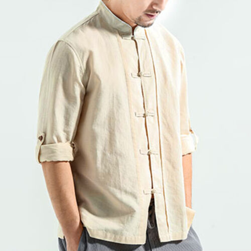 Mens Casual Linen Shirts Long Sleeve Chinese Kung Fu Stand Collar Tops Blouse US