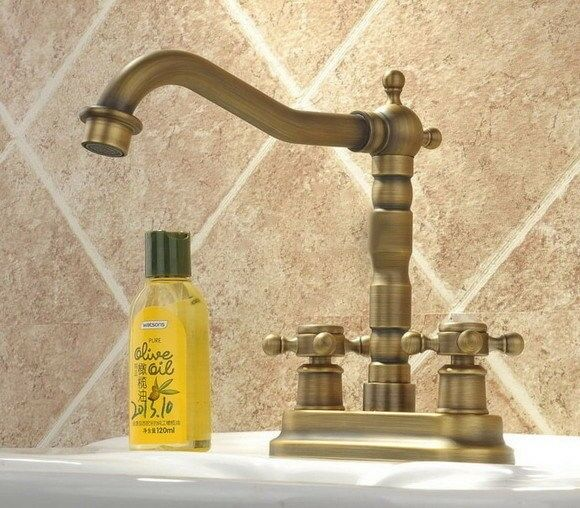 4  Centerset laiton antique salle de bains deux trous bassin robinet robinet d'eau ynf036