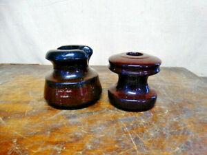 2 Vintage / Antique Ceramic Brown Electric Pole Insulators