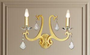 Applique classico 2 luci in metallo foglia oro e cristallo coll