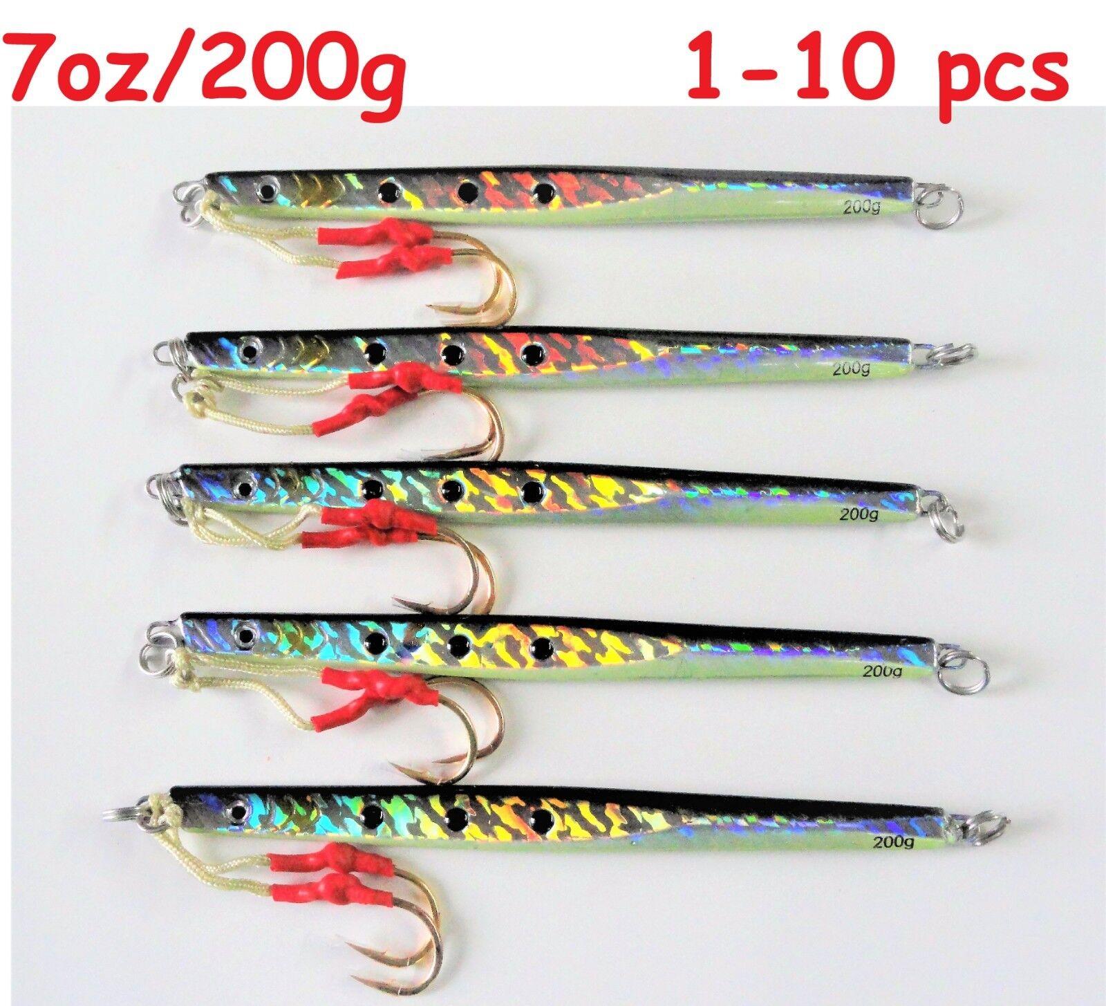 1-10 pcs Speed Jigs 7oz  200g Sardine greenical Knife Butterfly Saltwater Lures