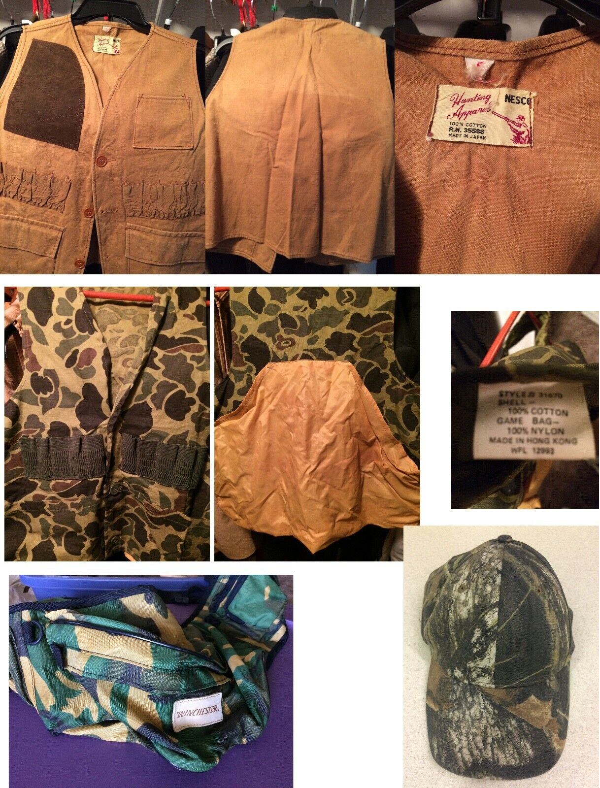 Hunting Vests - Nesco, Small, Medium Camouflage Vest & Winchester Hunting Bag