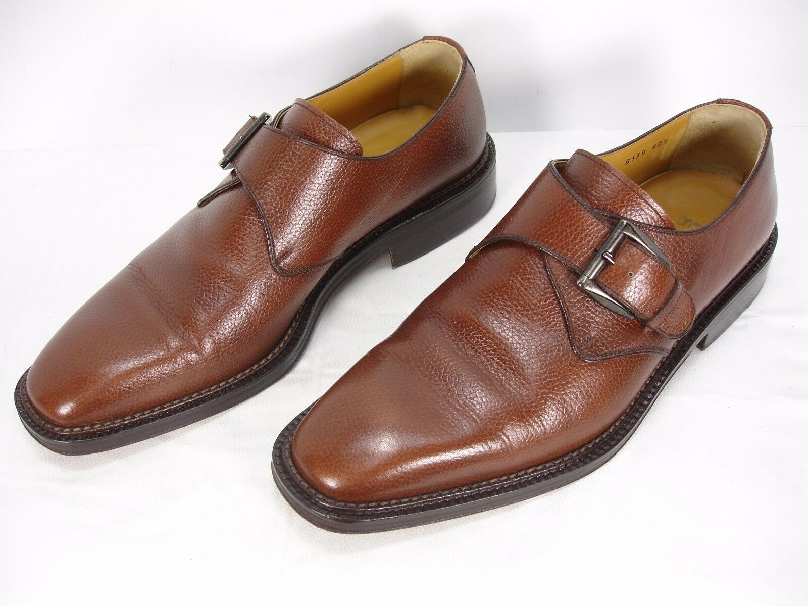 GRANT BROWN PEBBLE LEATHER MONK STRAP OXFORD DRESS SHOES MEN'S 42.5