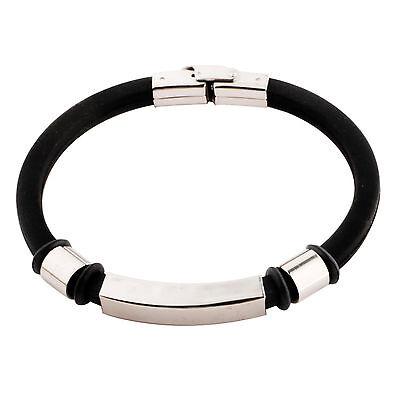 "2(TWO) Stainless Steel Mens Rubber Bangle Bracelet 8.5"""