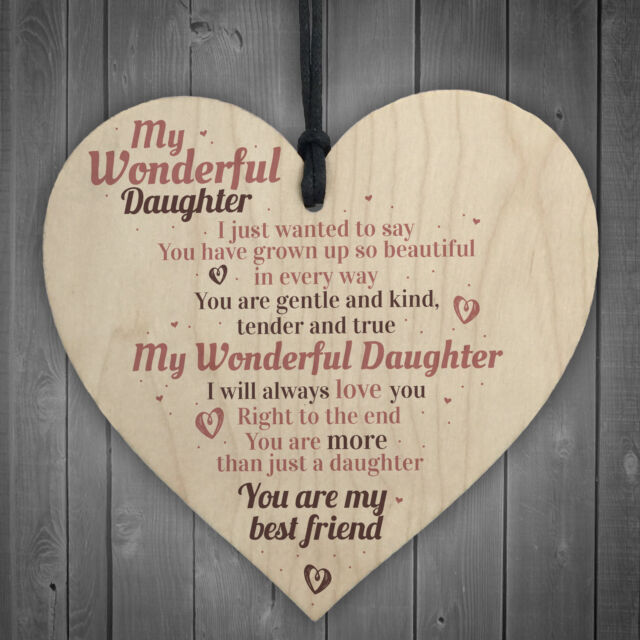 Wonderful Daughter Wooden Heart Sign Mum Daughters Plaque Special Birthday Gifts