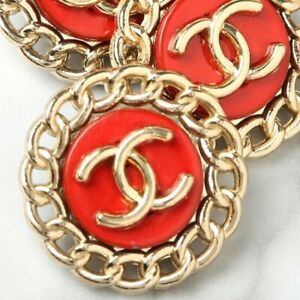 Chanel-Buttons-STAMPED-4pc-CC-Gold-amp-Red-20mm-Vintage-Style-4-Buttons-AUTH